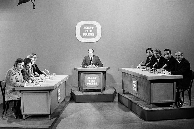 Democratic presidential candidates Birch Bayh, Jimmy Carter, Fred R Harris, Milton Shapp take on the press during the Iowa Democratic Caucus on 11 January 1976. (Photo by NBCU Photo Bank/NBCUniversal via Getty Images via Getty Images)