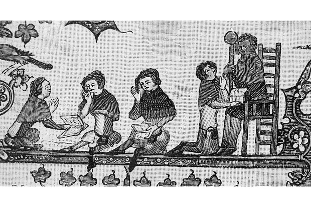 Schoolchildren at their books, UK, AD 1338-1344. From Bodleian manuscript MS. Bodl. Misc. 264. An illustration from 'A Short History of the English People, Volume 2', by John Richard Green. (Photo by Hulton Archive/Getty Images)