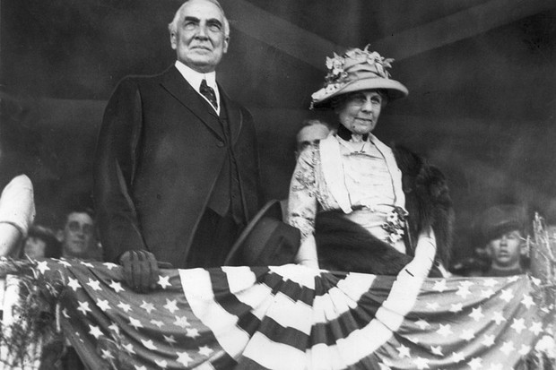 American president Warren G Harding and his wife, First Lady Florence Harding.