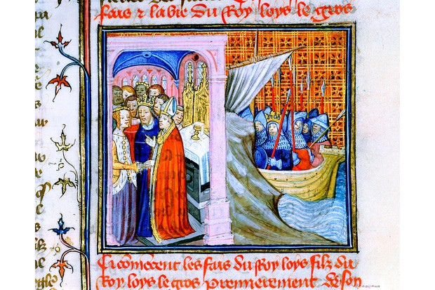 An illumination displays Eleanor of Aquitaine's marriage to Louis VII of France. (Photo by Ann Ronan Pictures/Print Collector/Getty Images)
