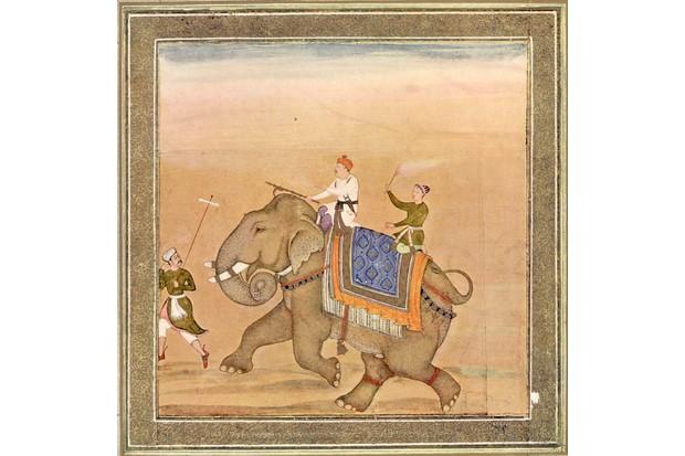 Mughal Emperor Akbar rides an elephant in a 17th-century miniature