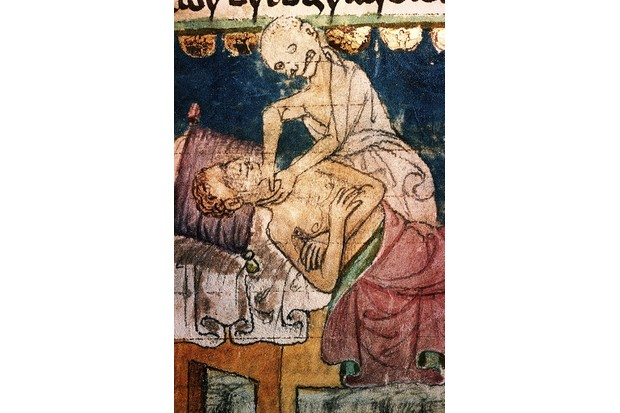 A depiction of Death strangling a victim of the Plague