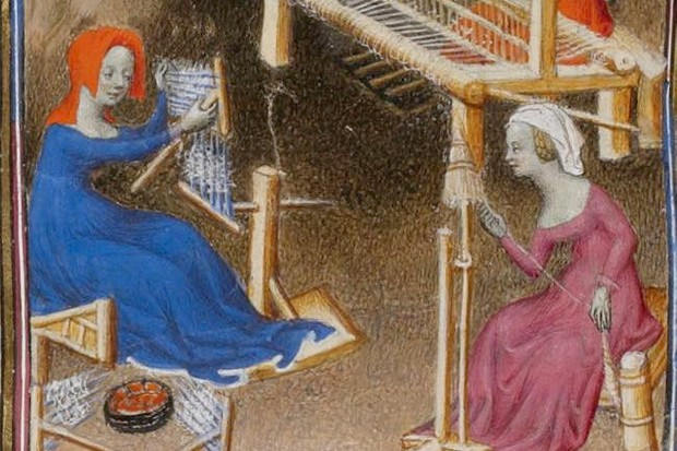 An illumination depicts medieval women embroidering