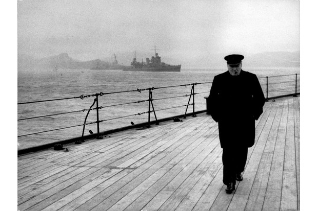Winston Churchill on the deck of HMS Prince of Wales