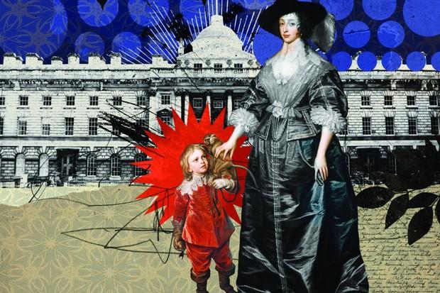 An illustration of Jeffrey Hudson and Queen Henrietta Maria
