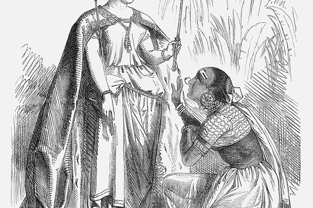 'The Accession of the Queen of India', 1858. After the end of the Indian Mutiny, the authority of the East India Company also ended and the Crown, here represented by Queen Victoria, took over the full control of the government of India. The Indian woman shown may well be meant to represent the Rani of Jhansi. She had been one of the foremost rebel leaders, together with Tantia Topi and the Nana Sahib. She had the reputation of fighting like a man, but here, she is brought to her knees before the power and authority of the British Crown. She was killed fighting the British, aged twenty-three. From Punch, or the London Charivari, September 11, 1858. (Photo by The Cartoon Collector/Print Collector/Getty Images)