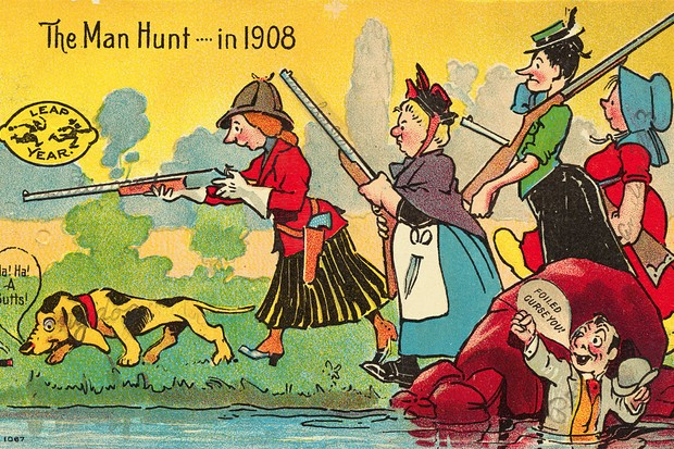 A postcard showing for women hunting for a man with guns and dogs.