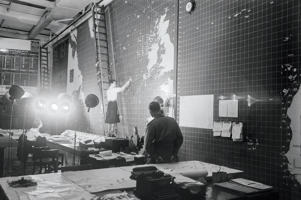 Operations Room in Derby House during Second World War, Wrens would mark positions of Allied and enemy ship