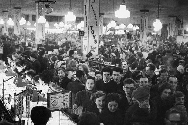 Shoppers crowd a Woolworths store in 1955