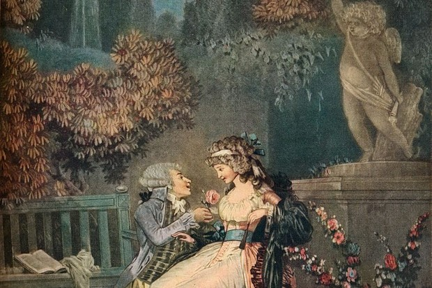 "Two lovers embrace in this 18th century painting. ""For centuries the purpose of upper-class marriage was to forge an alliance beneficial to both families,"" writes Emily Brand. (Photo by The Print Collector/Getty Images)"