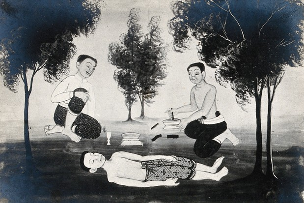 Medical treatment, shown in a Khmer painting. Local anxieties about characteristic symptoms tend to shape cultural syndromes such as 'kyol goeu' in Cambodia