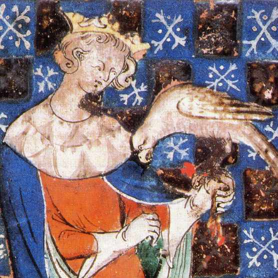 Cousins at war: King Stephen is shown holding a falcon in a miniature from 1253. His battle with his cousin Matilda for the English crown plunged the realm into a long civil war. (Photo by Alamy)