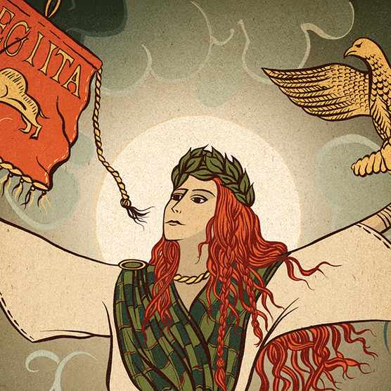 Illustration of Boudica, victorious over the Romans