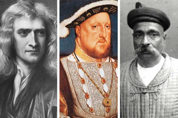 (L to R) Isaac Newton, Henry VIII and Bal Gangadhar Tilak