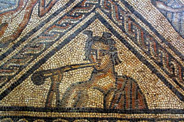 A Roman mosaic floor at Brading Roman Villa on the Isle of Wight. (Image by Alamy)