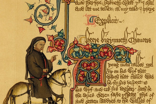 "Equestrian portrait of Geoffrey Chaucer from the Ellesmere manuscript of his Canterbury Tales (14th century). ""The world in which Chaucer moved was very outward-looking,"" says Marion Turner. (Photo by Universal History Archive/Getty Images)"