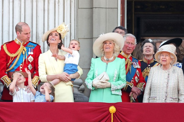 Members of the royal family: Prince Louis; Prince George; Prince William, Duke of Cambridge; Princess Charlotte; Catherine, Duchess of Cambridge; Camilla, Duchess of Cornwall; Prince Charles, Prince of Wales; Princess Anne, Princess Royal; and Queen Elizabeth II during the Queen's annual birthday parade on 8 June 2019 in London, England. (Photo by Chris Jackson/Getty Images)