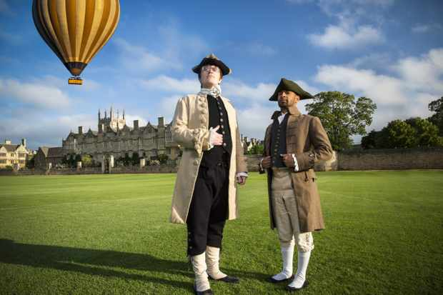 Eric Monkman, Bobby Seagull at Merton College Field, Oxford - the site of James Sadler's 1784 hot air balloon flight. (BBC/Label1 Television/Ryan McNamara)