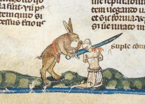 "A scene from the Smithfield Decretals depicting a rabbit beheading a man. Rabbits seem to have a strange place in medieval imagery – and are depicted as having strangely violent tendencies. ""It's the sort of thing to give you nightmares,"" says David Musgrove. (Photo by Album/British Library/Alamy Stock Photo)"