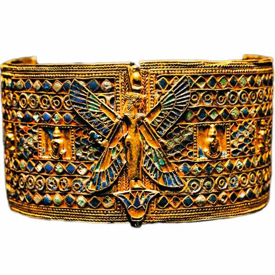 DPB4BR Gold bracelet pyramid  Queen Amanishakheto at Meroe A winged goddess wearing the double crown Egypt Nubia 1 - 2  Cent  AD Sudan