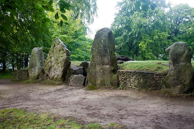 The front facade of the prehistoric chambered tomb of Wayland's Smithy