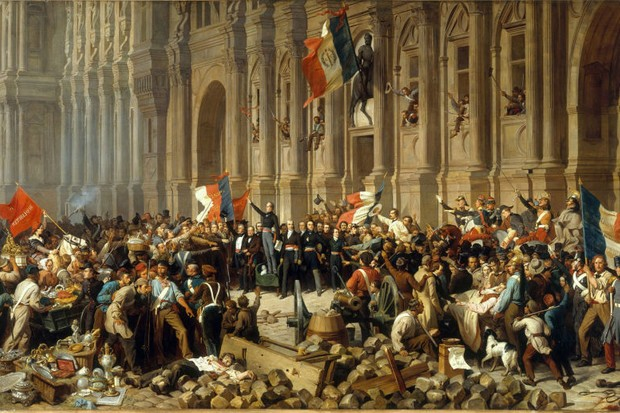 Paris rejects the red flag on 25 February 1848. Found in the Collection of Musée Carnavalet, Paris. (Photo by Fine Art Images/Heritage Images/Getty Images)