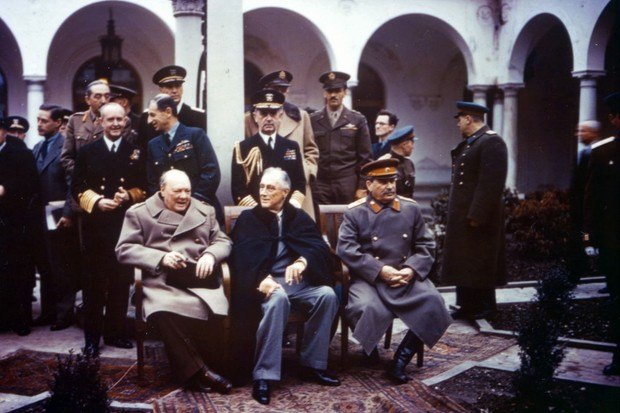 The original 'Big Three' at Livadia Palace in Yalta: Churchill, Roosevelt and Stalin. None of them came away from the summit with everything they had hoped for. (Photo by PhotoQuest/Getty Images)