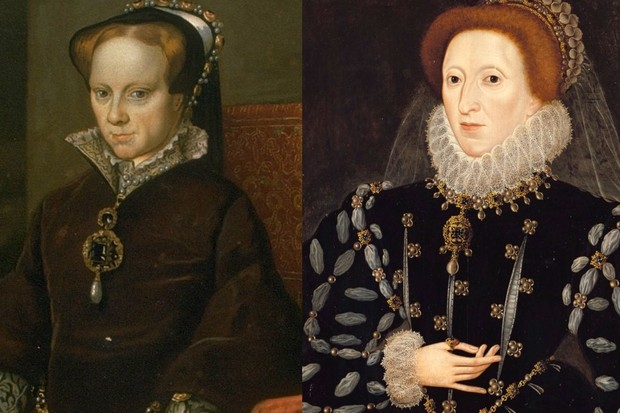 Half-sisters and daughters of Henry VIII: Mary Tudor (left) and Elizabeth I, who both reigned as queen of England. (Photos by Getty Images)