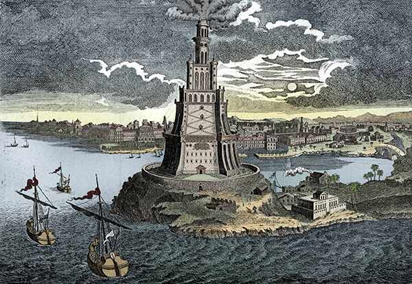 Colourised print of the Lighthouse of Alexandria as imagined in the 18th century