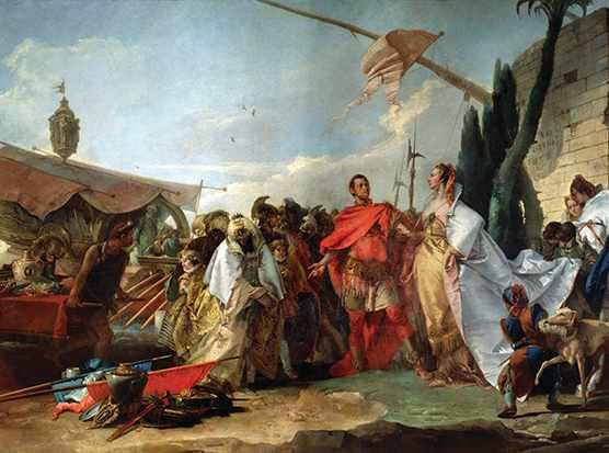 Julius Caesar meets Cleopatra in this 18th-century painting