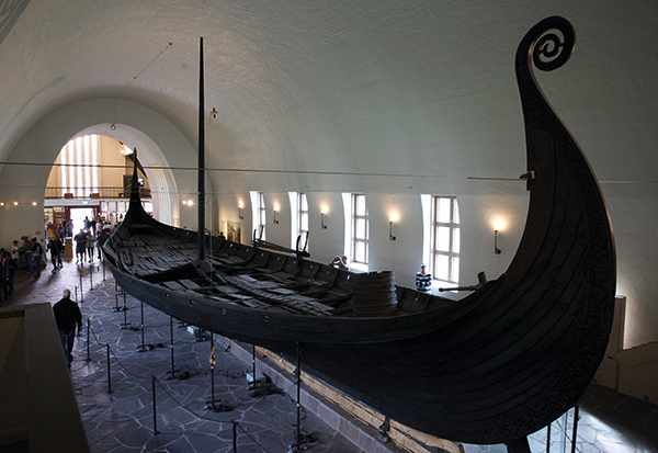 The Oseberg ship from around AD 820 is one of the most well- preserved Viking ships ever excavated