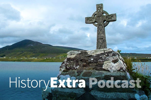 Ancient Celtic Cross overlooking the Achill Sound at the old church of St Dympna and Holy Well, Achill Island, County Mayo, Ireland. (Photo by Dreamstime)