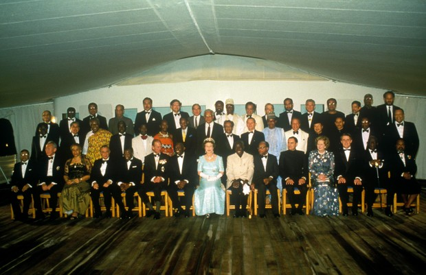 Queen Elizabeth II at the Commonwealth Heads of Government Meeting 1985, held in Nassau, the Bahamas, 16 October 1985. (Photo by John Shelley Collection/Avalon/Getty Images)