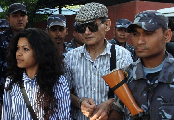 Charles Sobhraj (centre) pictured in 2011, while trying to sue the Nepalese government for unlawful imprisonment