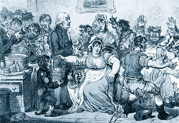 Edward Jenner performs a vaccination, in an 1802 cartoon that lampoons the notion that being vaccinated will turn you into a cow