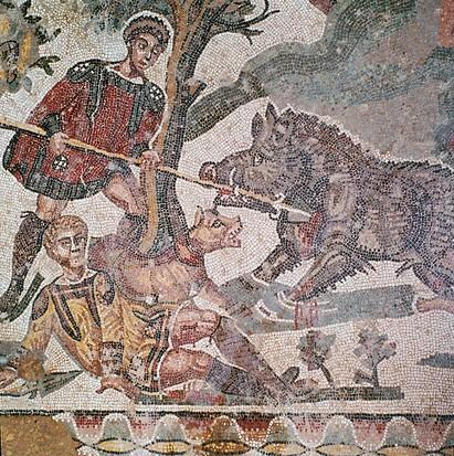 Cette mosaïque romaine du quatrième siècle montre une chasse au sanglier