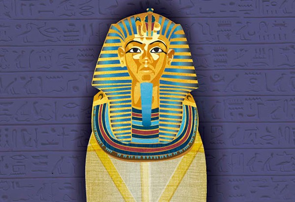 Illustration of a mummy with mask