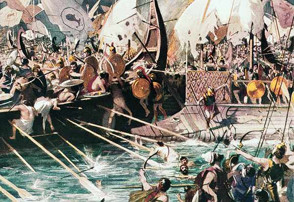 Illustration of Despite being outnumbered, the Greeks gained vital supremacy at sea over the Persians at the battle of Salamis in 480 BC