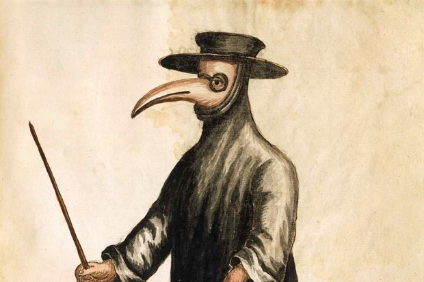 An illustration of a 17th century plague doctor
