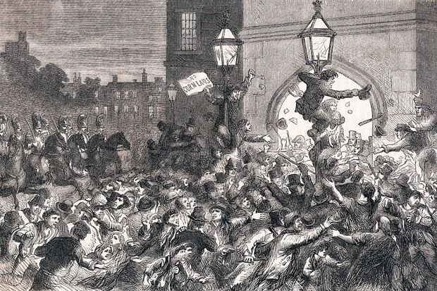 Public unrest and riots broke out with the introduction of the Corn Laws. (Image by Bettmann/Getty Images)