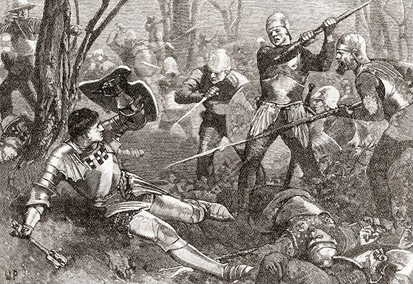 Richard Neville, Earl of Warwick and known as the Kingmaker, meets his end at the battle of Barnet in 1471