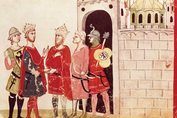 The Holy Roman Emperor Frederick II reaches an accord with the Muslim sultan al-Kamil in 1229 that saw Jerusalem handed to the crusaders. This is just one instance of cooperation between east and west in the era (though the two men never actually met in person). (Photo by DeAgostini/Getty Images)