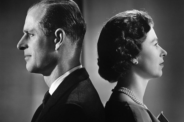 Queen Elizabeth II and Prince Philip, Duke of Edinburgh, back to back