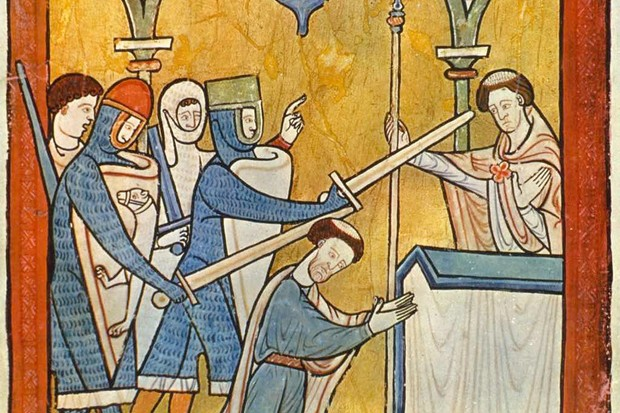 Four knights hack Thomas Becket to death