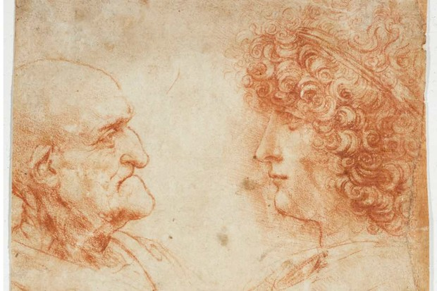 Drawing of an old and young man, possibly Salai, by Leonardo da Vinci