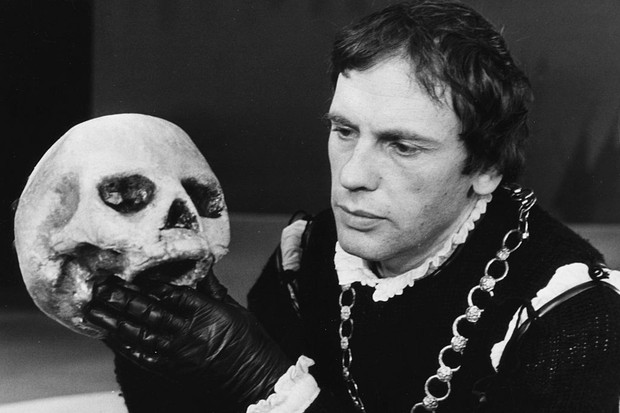 French actor Jean-Louis Trintignant holding the skull of Yorik