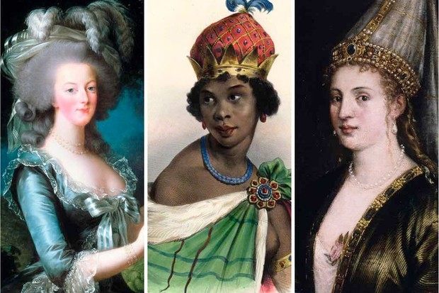 L to R: Marie Antoinette of France, Njinga of Ndongo and Matamba, Hurrem (also known as Roxelana)