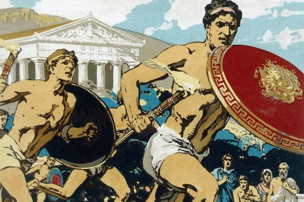 A depiction of athletes in the torch race, ancient Olympics
