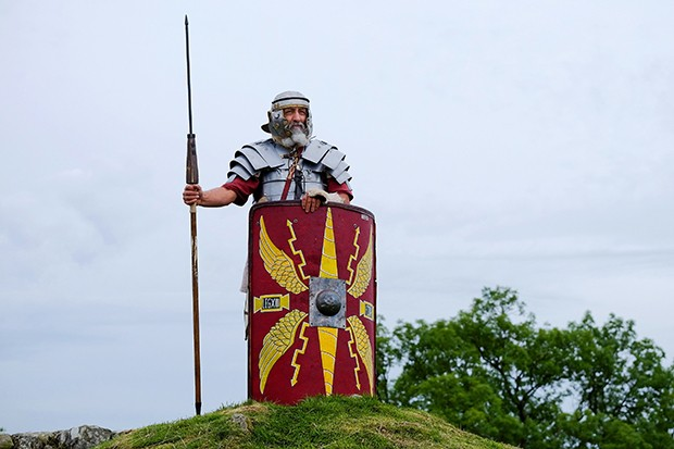 A Roman soldier stands on guard during a re-enaction at Birdoswald Roman fort in Carlisle