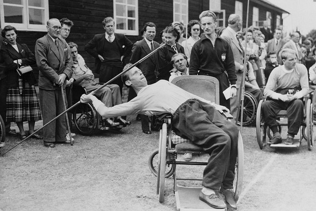 Joep de Beer of Holland throws a javelin at the Stoke Mandeville Games